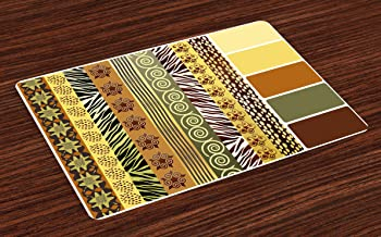 Ambesonne Zambia Place Mats Set of 4, Vintage Mixed Pattern Earthen Toned Floral Abstract Image, Washable Fabric Placemats for Dining Room Kitchen Table Decor, Multicolor