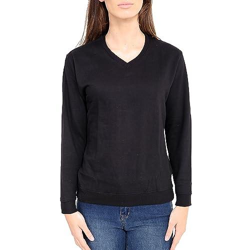 Kids Boys Girls V Neck Jumper Black Sweatshirt School Uniform Plain Pull Over