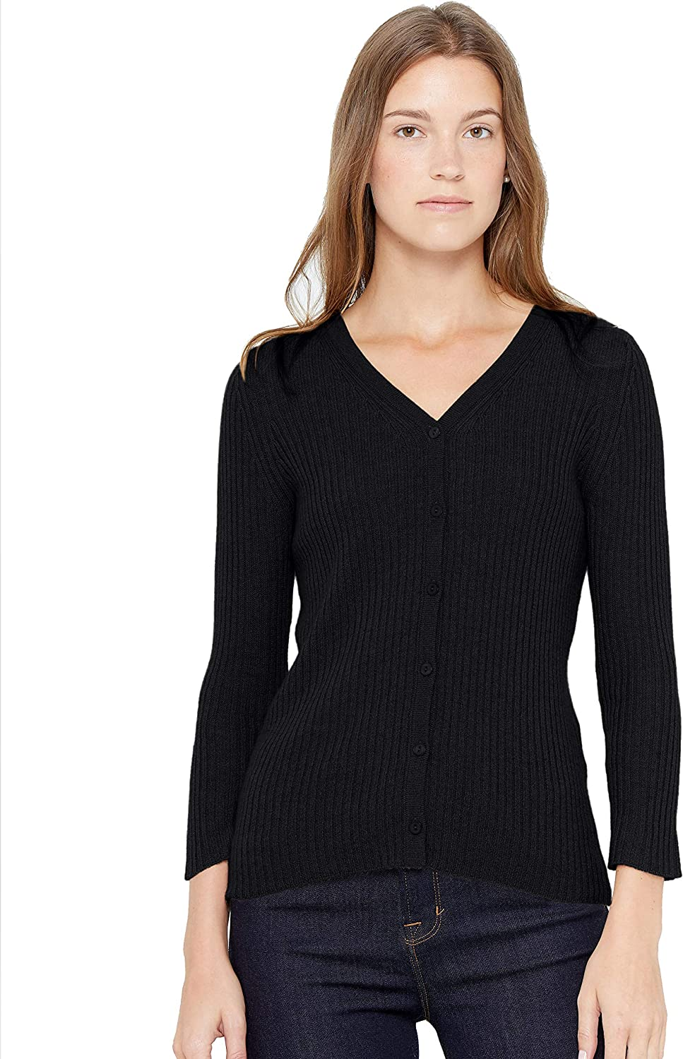 State Cashmere 3/4 Sleeve Button Down Cardigan 100% Pure Cashmere V-Neck Ribbed Sweater