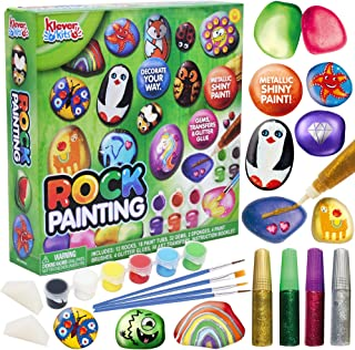 JOYIN 12 Rock Painting Creativity Arts & Crafts DIY Supplies Kit with 18 Paints Decorate Your Own for Kids Painting Gifts, Family Activity, Birthday Present