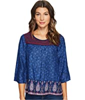 Lucky Brand Embroidered Border Peasant Top