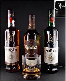 Geschenk 3 Flaschen Glenfiddich 12, 15, 18 Jahre Single Malt Whisky  Original Glas