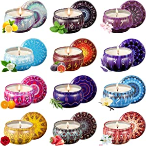 Scented Candles Gifts Set, 12 Constellations Soy Wax Jar Candles, Aromatherapy Candles with Portable Travel Tin, Great Gift for Home Decor, Christmas