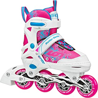 Roller Derby Girls' ION 7.2 Adjustable Inline Skates White/Hot Pink/Turquoise