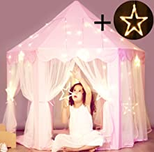 Princess Castle Tent with Large Star Lights String, Durable Kids Playhouse for Indoor & Outdoor Games, Stimulate Pretend and Imaginative Play, Have Fun, Encourage Social Interaction, Cute Pink