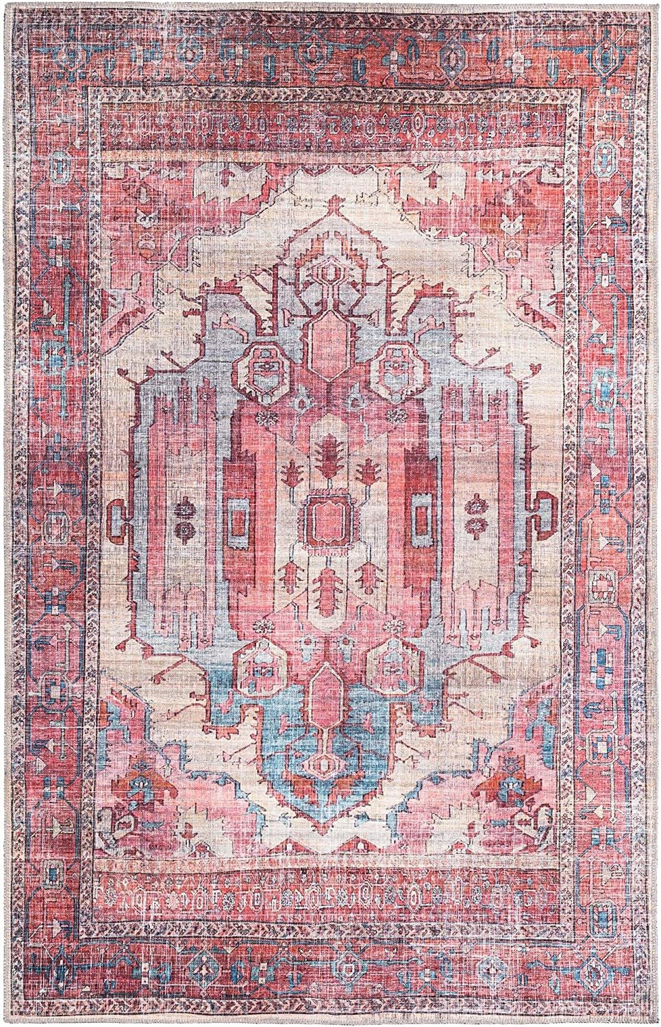 Quality inspection Rugs.com Maahru Collection Max 76% OFF Washable Rug – 8' Low-Pile 5' Beige x