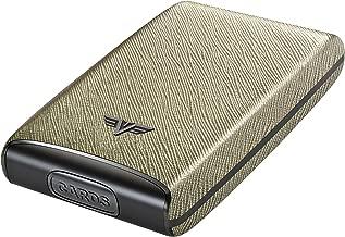 TRU VIRTU Fan Credit Card Case   RFID Safe Leather Line (Saffiano White Gold)