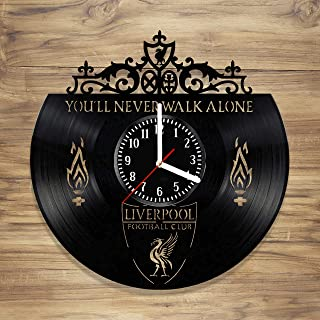 Liverpool F.C. Vinyl Record Wall Clock Football Club Reds YNWA Perfect Art Decorate Home Style Unique Gift idea for Him Her (12 inches)
