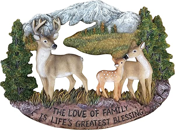Pine Ridge Deer Family Wall Hanging Plaque Home Decor Inscribed The Love Of Family Is Life S Greatest Blessing Figurine Collectibles Wildlife Animals Decoration Gift Ideas