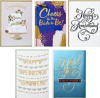 Hallmark Wedding Events Card Assortment, Engagement Congratulations/Bridal Shower/Bachelorette/Wedding/1st Anniversary (5 Cards with Envelopes)