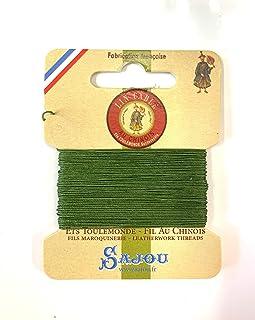シノワ Fil Au Chinois 手縫い用麻糸(リネン)size832(0.43mm) 10m card 色番735-Chartreuse