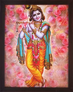 Handicraft Store A Lord Krishna Playing Flute, a Elegant & Religious Poster with Frame