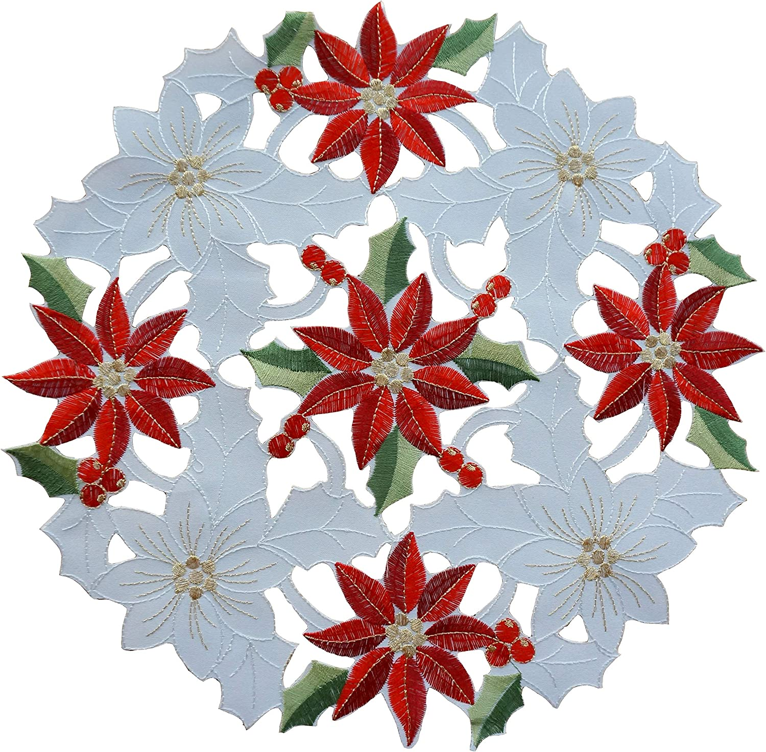 GRANDDECO Elegant Holiday Christmas Table Embroidered Placemat Floral C At the price of surprise