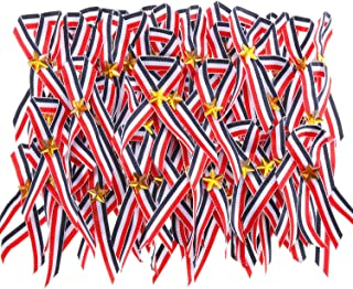 Patriotic Ribbon Red Blue White Ribbon with Gold Star Safety Pin for Independence Day
