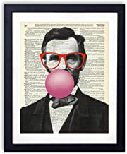 Abraham Lincoln In Red Glasses Blowing Bubble Vintage Upcycled Dictionary Art Print 8x10 inches, Unframed