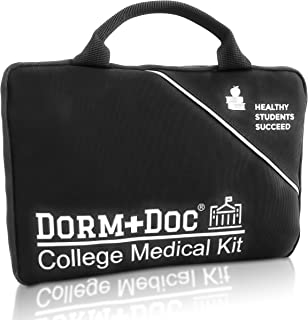 College First Aid Medical Kit Dorm Room Essential - Complete 125 Piece Kit First Aid 6 OTC Meds Pharmacist Designed
