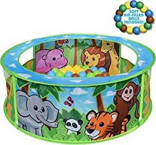 Sunny Days Entertainment Zoo Adventure Pop-Up Ball Pit with Bpa Colorful