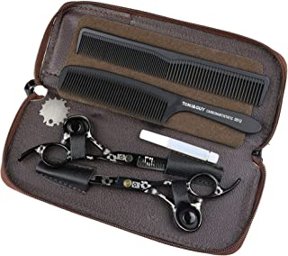 HJTLK Titanium Professional Hair Scissors, 5.5 Inch Japanese 440C Steel Hair Scissors, Barber Cutting Scissors Thin Scisso...