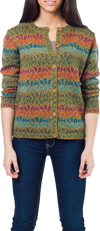 NOVICA Multicolor 100% Alpaca Cardigan, Andean Secret'