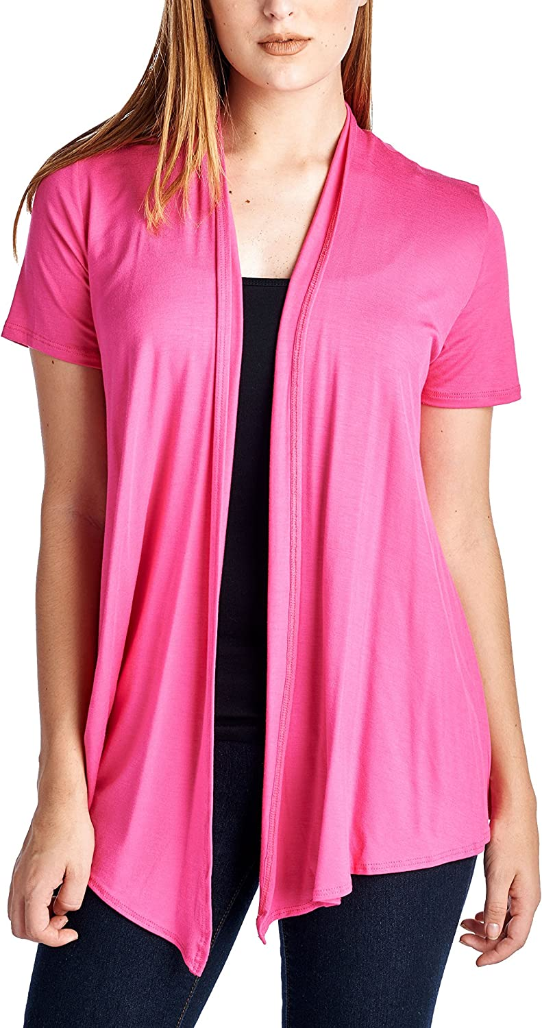 82 Days Women's Casual Lightweight Short Sleeve Open Front Cardigan Made in USA
