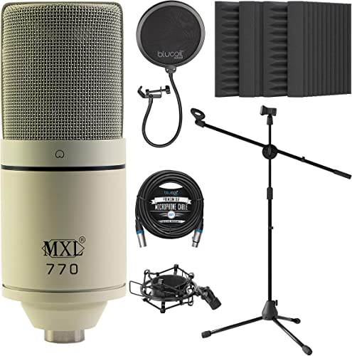 """popular MXL 770 Cardioid Condenser Microphone (Vintage White) Bundle with Blucoil 20-FT Balanced XLR Cable, Pop Filter Windscreen, Adjustable Mic Stand, and 4-Pack outlet sale online sale of 12"""" Acoustic Foam Isolation Panel Wedges outlet online sale"""