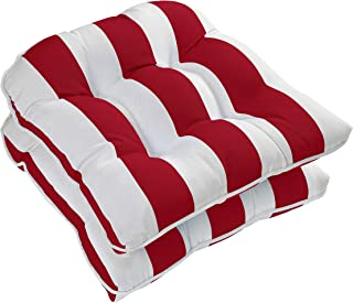 Ornavo Home Water Resistant Indoor/Outdoor Patio Decorative Stripe Tufted Wicker Chair Seat Cushion Pad - Set of 2 - Red