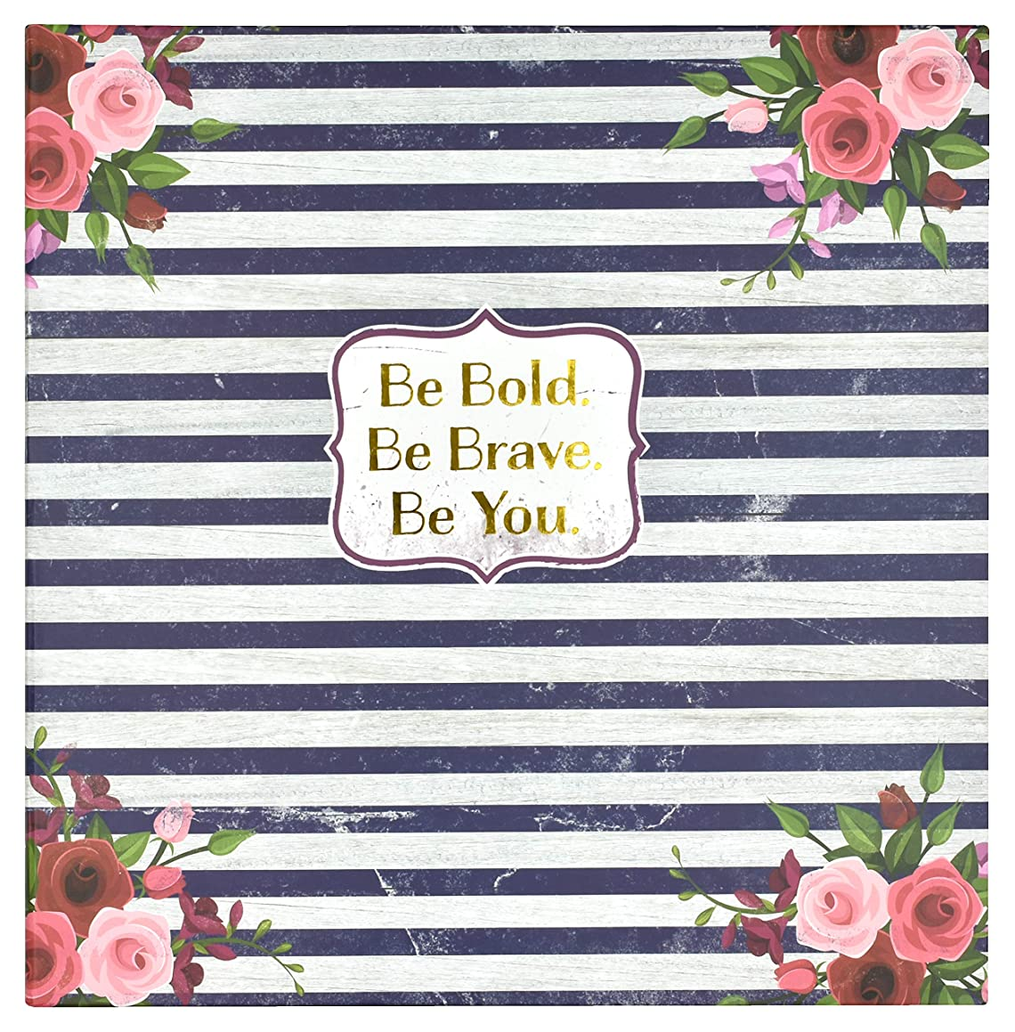 MCS MBI 860164 Be Be Bold Floral & Striped Photo Album, 13x13 Inch, Navy