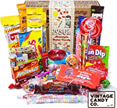 VINTAGE CANDY CO. 1950's RETRO CANDY GIFT BOX - 50s Nostalgia Candies - Throwback FIFTIES Fun Gag Gift Basket - PERFECT '50s Candies For Adults, College Students, Men or Women, Kids, Teens