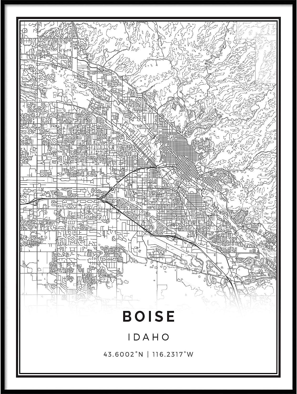 Squareious Boise map Poster Print | Modern Black and White Wall Art | Scandinavian Home Decor | Idaho City Prints Artwork | Fine Art Posters 9x11
