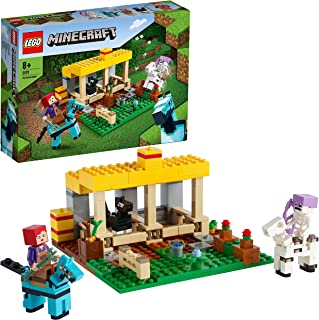 LEGO 21171 Minecraft The Horse Stable Farm Toy with Skeleton Horseman Figure, Toys for Kids 8+ Years Old