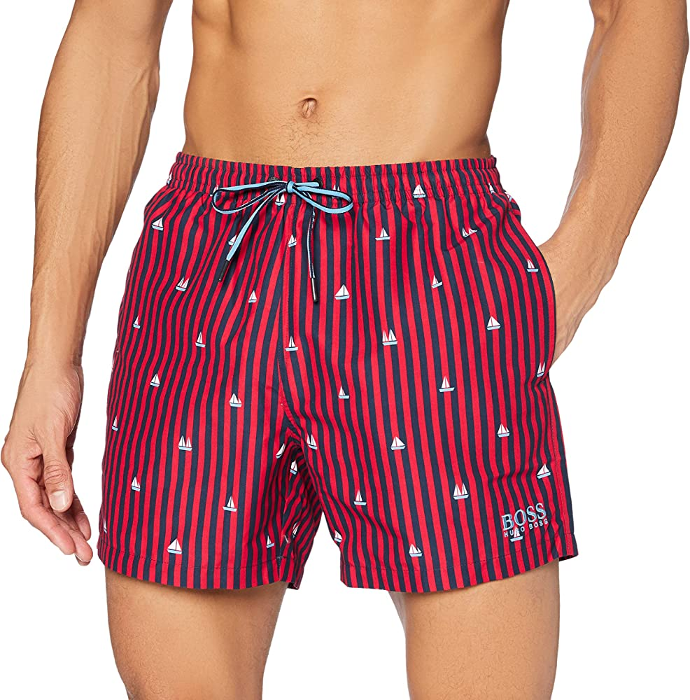 Hugo boss catfish bm, costume a  pantaloncini per uomo, in 100% poliestere, a striscie rosse e nere 50265736