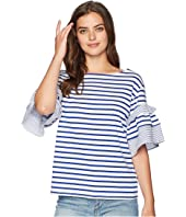 ROMEO & JULIET COUTURE Striped Ruffle Sleeve T-Shirt