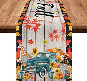 Hexagram Hello Fall Table Runner, Autumn Harvest Pumpkin Patch Table Scarf Home Kitchen Decor Fall Gnomes Vintage Truck Thanksgiving Tabletop Decoration, 13 x 72 Inch Maple Leaves Long Fall Table Line