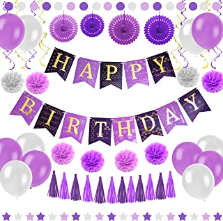 Purple Happy Birthday Party Decorations - Supplies Set for Adult Women & Men - Boy & Girl Kids - Includes Hanging Wall Bunting Flag Banner with Gold Letters, Pom Poms, Paper Fans, Garlands, Baloons