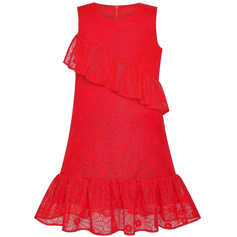 子供ドレス 女の子ドレス ライン 赤 レース フリル スカート 誕生日 パーティー 115/125/130/140/150cm