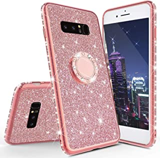 HMTECHUS Case for Galaxy Note 8 Glitter Bling Diamond Luxury Plating Silicon TPU Soft Cover with Ring Stand Holder Ultra-thin protection Compatible with Samsung Galaxy Note 8 Plating TPU Rose Gold KDL