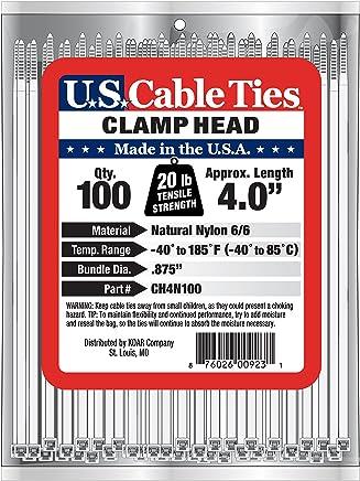 US Cable Ties CH4B100 4 英寸夹头带,UV 黑色 4-Inch CH4N100
