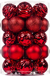 SY CRAFT 34Ct Christmas Ball Ornaments for Xmas Tree Shatterproof Christmas Decorations Hanging Ball Small for Holiday Par...