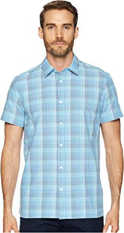 Short Sleeve Stretch Seersucker Plaid Shirt