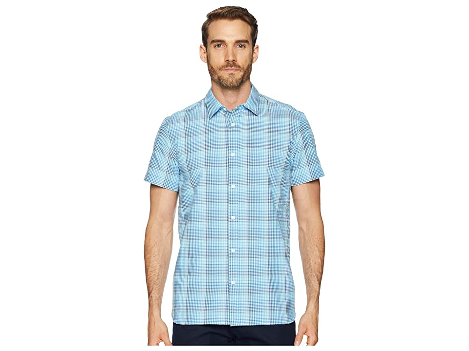 Calvin Klein Short Sleeve Stretch Seersucker Plaid Shirt (Blue Topaz) Men