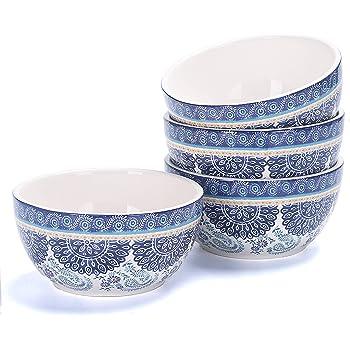 Bico Blue Talavera 26oz Ceramic Cereal Bowls, Set of 4, for Pasta, Salad, Cereal, Soup & Microwave & Dishwasher Safe
