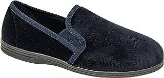 Zedzzz Mens Slip On Slippers Navy Blue Suede Look Textile Comfortable