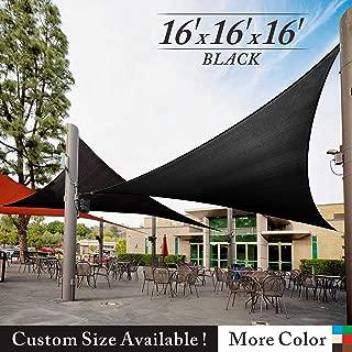 Royal Shade 16' x 16' x 16' Black Triangle Sun Shade Sail Canopy Outdoor Patio Fabric Shelter Cloth Screen Awning - 95% UV Protection, 200 GSM, Heavy Duty, 5 Years Warranty, We Make Custom Size