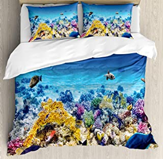 Fish Duvet Cover Set,Underwater Sea World Scene with Goldfish Starfish and Jellyfish Depth Diving Concept,Decorative 3 Piece Bedding Set with 2 Pillow Shams,Queen Size,Turquoise