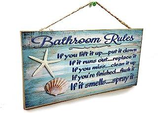 "Blackwater Trading 5""x10"" Seashells Bathroom Rules If It Smells Spray It Beach Sign Plaque"
