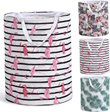 Smile Mom Laundry Basket/Bag/Hamper for Clothes with Handle & Drawstring Closure, Foldable for Home Bathroom Bedroom (Pink)