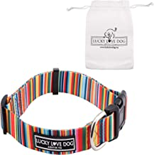 Lucky Love Dog | Matching Multi-Color Dog Collar & Leash for Small Medium Large Dogs - Soft, Adjustable, Cute Pet Gear for Male and Female Dogs