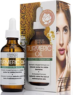 Advanced Clinicals Turmeric Oil for face. Antioxidant formula with Rose Extract and Jojoba oil for dry skin, redness, and ...