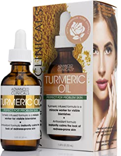 Advanced Clinicals Turmeric Oil for face. Antioxidant formula with Rose Extract and Jojoba oil for dry skin, redness, and skin blemishes. Large 1.8oz glass bottle with dropper. (1.8oz)