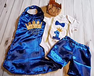 4 piece 1st 2nd Birthday baby boy birthday set outfit Smash cake photo prop prince king royal blue gold crown onesie cape Crown Hat Shorts 6 months to 24 months